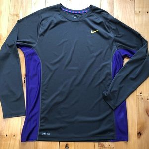 Nike Dri-Fit long sleeve gray and purple